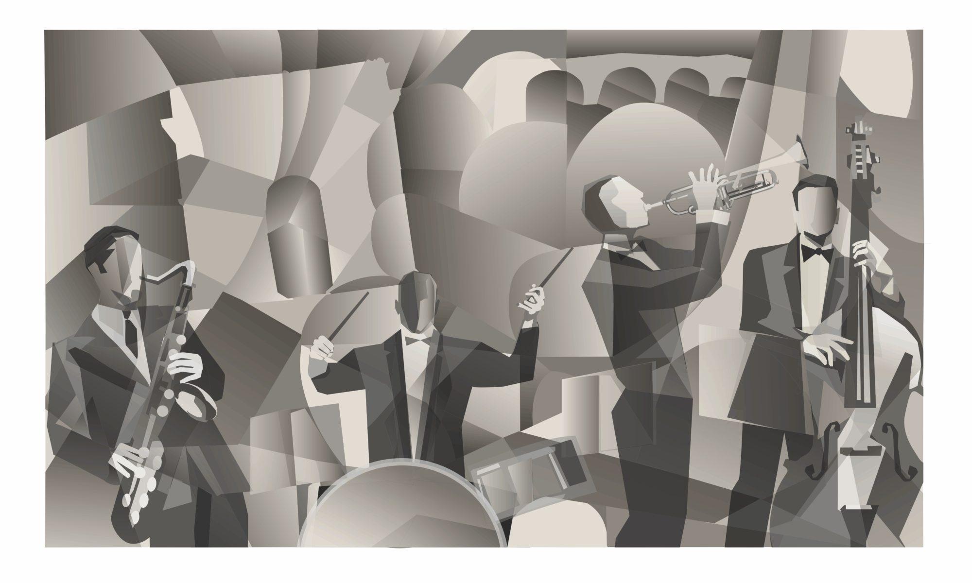 zespół jazzowy czarno biały obrazek
